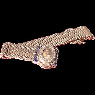 14k Retro Enamel Portrait  Bracelet Watch