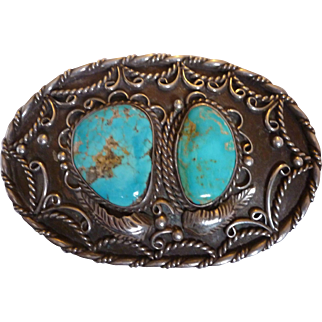 Tom Charlie Signed Navajo Turquoise Belt Buckle