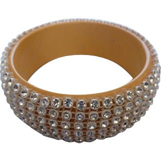 Bakelite Celluloid Rhinestone Bangle Bracelet