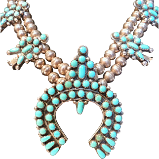 Susie Panteah Sterling Zuni Squash Blossom Turquoise Necklace
