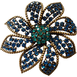 WEISS Large Blue Green Vintage Brooch