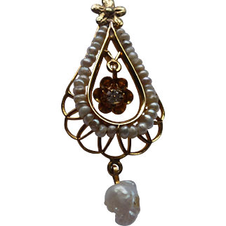 Victorian Gold Diamond and Cultured Pearl Lavaliere