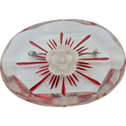 Reverse Carved Clear Red Lucite 1940's Pin Brooch