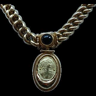 AREZZO ITALY Heavy 18K Gold Necklace with Cameo Pendant
