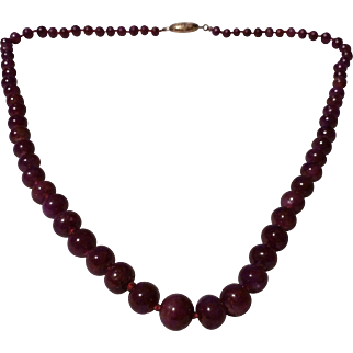 Natural Genuine Ruby Graduated Bead Necklace with 14K Clasp
