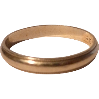 10K Yellow Gold 1940's Wedding Band  Size 7