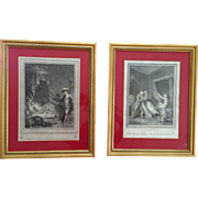 Rare French Antique Etchings 18th Century Gallant Scenes