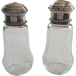Pair of French Silver and Glass Old Fine Sugar Shakers