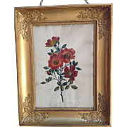 French 19th Century Red Orange Roses and Poetry Gouache