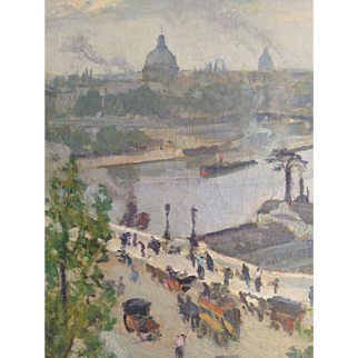 Impressionist Paris View French Oil Painting by Biloul: Seine Steamboats Pont Neuf in the Early 20th Century