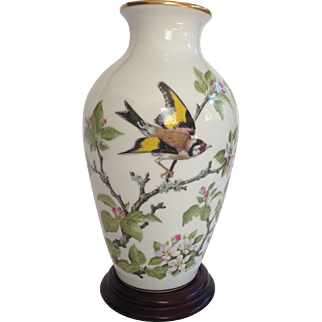 Woodland Bird Cheery Flowers Porcelain Vase by Basil Ede for Franklin Porcelain