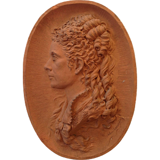 Rare 19th Century French Signed Earthenware Woman Embossed Portrait
