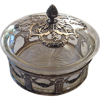 Delicate French Silver Plate and Carved Glass Old Candy Box