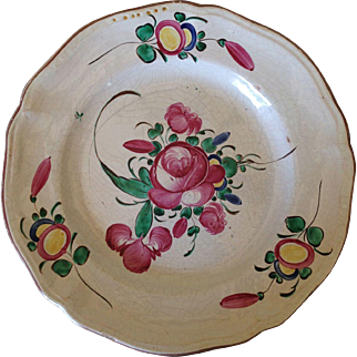 French Flower Hand Painted Old Faience Wall Plaque