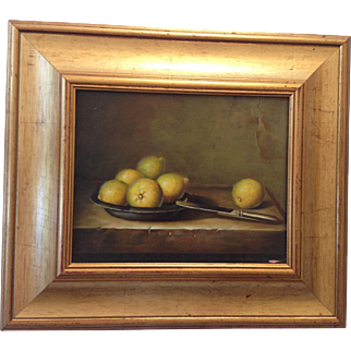 French Lemon Still Life Old Oil Painting on Wood