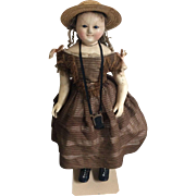 Beautiful and large early English wax over composition doll