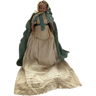 All original poured wax Pierotti shoulder head doll, English circa 1860
