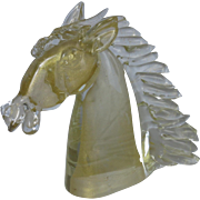 Horse head, made in crystal with gold bubbles decoration, Murano, Venice, c. 1960-70