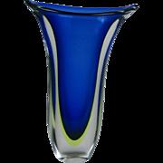 Venetian sommerso glass vase, Blue color.  Murano, Venice, Italy