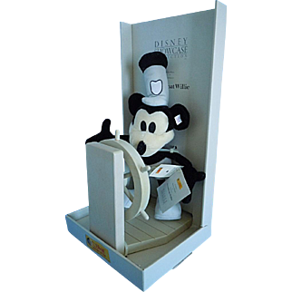 "Steiff 1999 Disney Steamboat Willie 14"" Mohair Mickey Mouse & Ship Wheel w/Box"