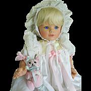 """Susan Wakeen 20"""" Vinyl Baby Blonde in Christening Gown w/ Cat"""