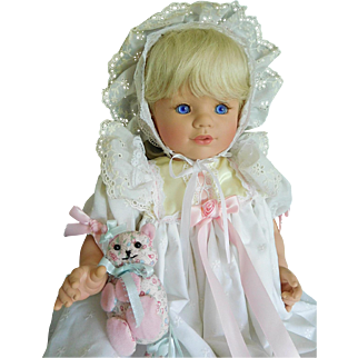 "Susan Wakeen 20"" Vinyl Baby Blonde in Christening Gown w/ Cat"