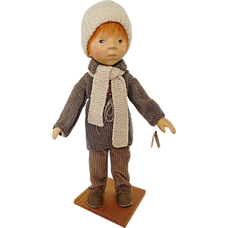 "Artist Elisabeth Pongratz 14"" Carved Full Body Wood Red Hair Boy Doll w/ Original Stand & Hangtag West Germany"