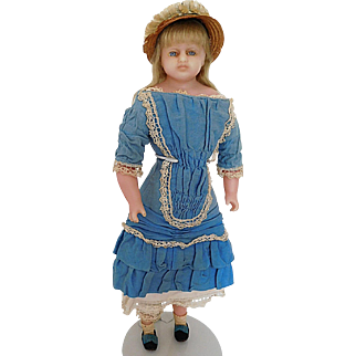 "Antique All Original 18"" English Poured Wax Montanari Lady Circa 1880"