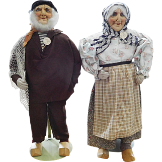 """Huge! Museum Quality 22"""" French Ravca Cloth Stockinette Man & Woman w/Tag"""