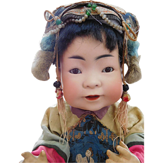 "Rare Kestner 243 JDK 16"" Oriental Asian Bisque Baby All Original"