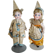 """Antique French 4.5"""" All Jointed Bisque Mignonette Boy & Girl All Original Clothes"""