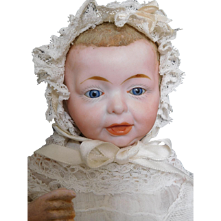 "Kammer & Reinhardt 9"" Kaiser Bisque Baby w/ Glass Eyes & Flocked Hair Original Clothes"