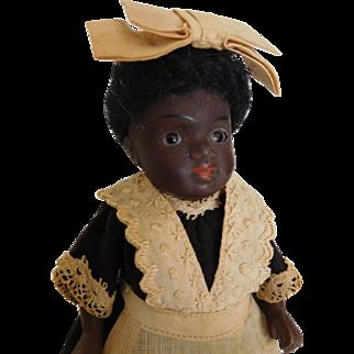"4.5"" Black All Bisque Maid w/ Bare Feet & Original Clothes Mold 164 Kestner?"