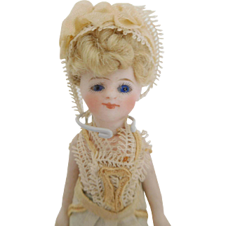 "4.5"" All Bisque Mignonette French Type Girl Simon Halbig on French Body All Original"