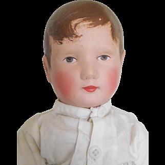"Rare! 18"" Bing Oilcloth Cloth Boy Kruse Type w/ Composition Hands"