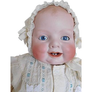 "Antique 20"" Bonnie Babe Solid Dome Bisque Happy Baby Gerogene Averill"