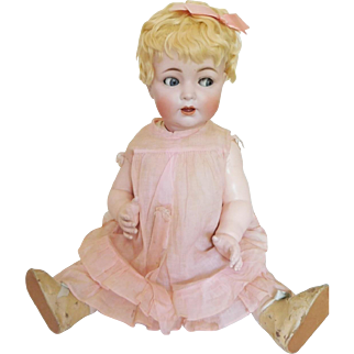"Huge! 24"" Hertel Schwab 98 Bisque Socket Head Flirty Eye Toddler All Original"