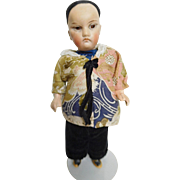 """8.5"""" German Bisque Oriental Chinese Man Boy w/ Closed Mouth All Original"""