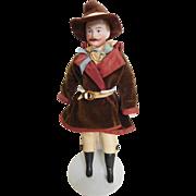 """German 8"""" Gentleman w/ Molded Mustache & Original Western Costume"""