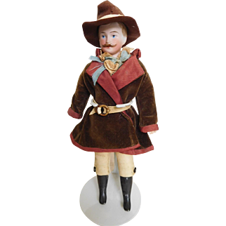 "German 8"" Gentleman w/ Molded Mustache & Original Western Costume"