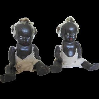 "Vintage 3.75"" Black Bisque Porcelain African American Topsy Twins Baby Japan"