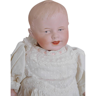 "12"" Gebruder Heubach Smiling Bisque Baby in Antique Gown"