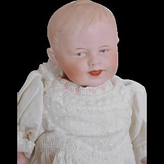 "12"" Gebruder Heubach Smiling Bisque Baby in Antique Gown"