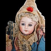 "Antique German Kestner French Look 16"" Marotte Bisque Head Musical Toy"