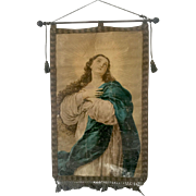 19th Century Italian Catholic Processional Banner Madonna or Virgin Mary Oil on Canvas