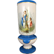 19th Century French Empire Hand Painted Porcelain Spill Vase