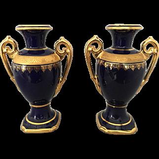 Pair Signed Limoges France Camille Tharaud Cobalt & Gilt Porcelain Urns