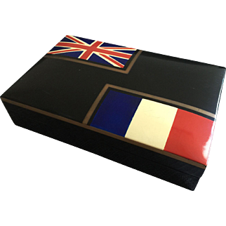 WWI Era Hand Painted Paris France Black Lacquer Box Union Jack & French Flag