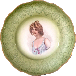Taylor Smith Taylor C. 1915 Hand Painted Porcelain Portrait Plate in Green