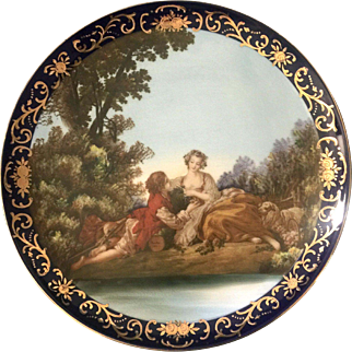 French Porcelain Cabinet Plate Pastoral Scene on Cobalt and Gilt Around 1910-1915